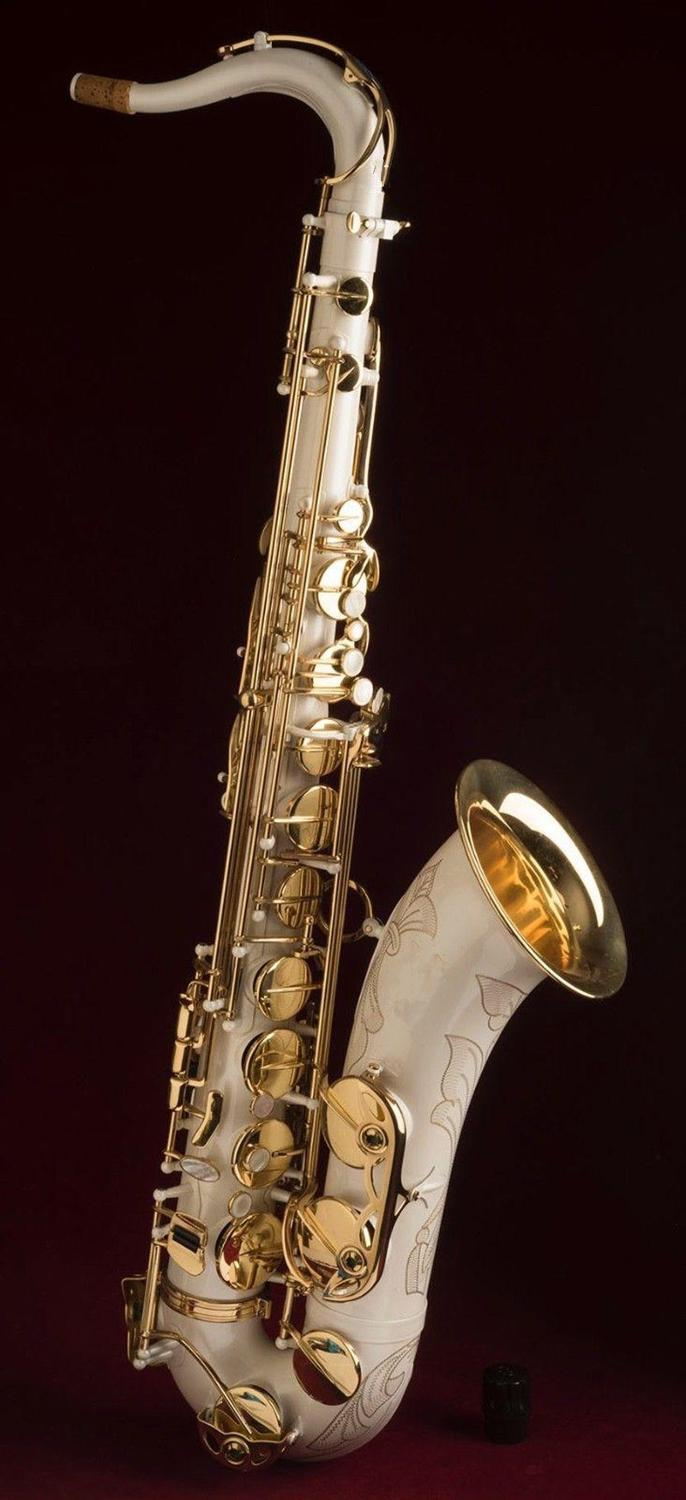 Musical Instrument STS 802 Tenor Bb Tune Saxophone B Flat Brass Tube White Lacquer Surface Saxophone