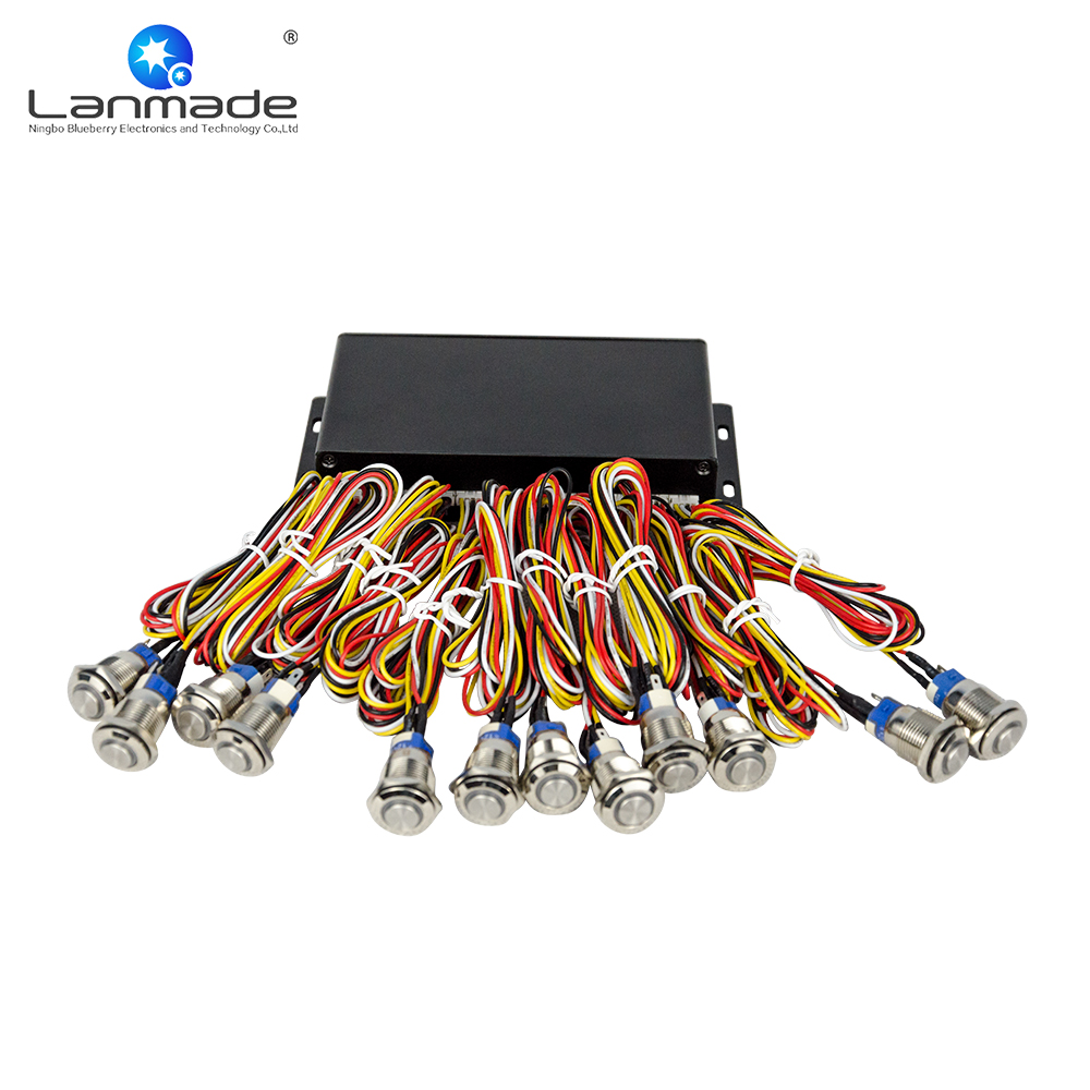 UP to 120pcs metal blue LED button RS232 expansion box indoor exhibition