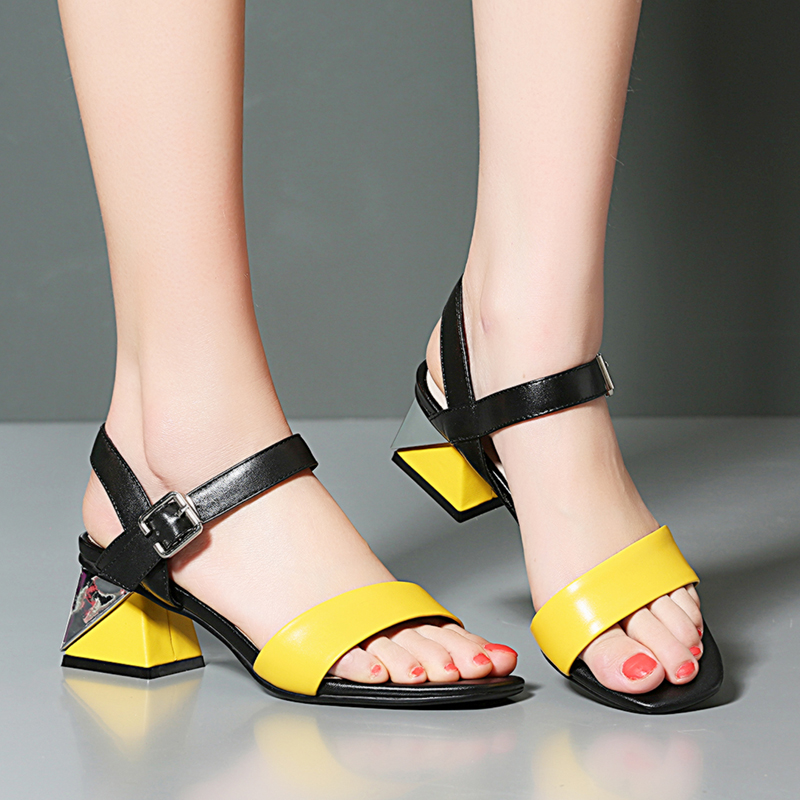 XIUNINGYAN 2019 Cow Leather Women Sandals Mixed Color Sexy High Heel Fashion Sandals Peep Toe Buckle