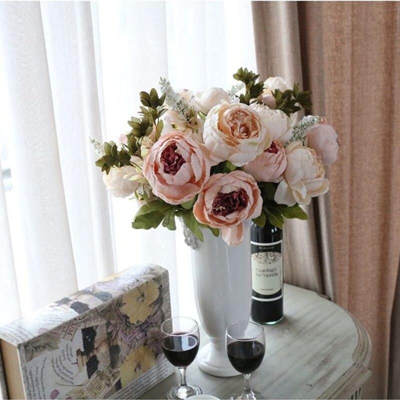 Искусственные цветы Шелковый цветок Европейский Осень яркие пион поддельные Лист Свадебный дом украшение партии