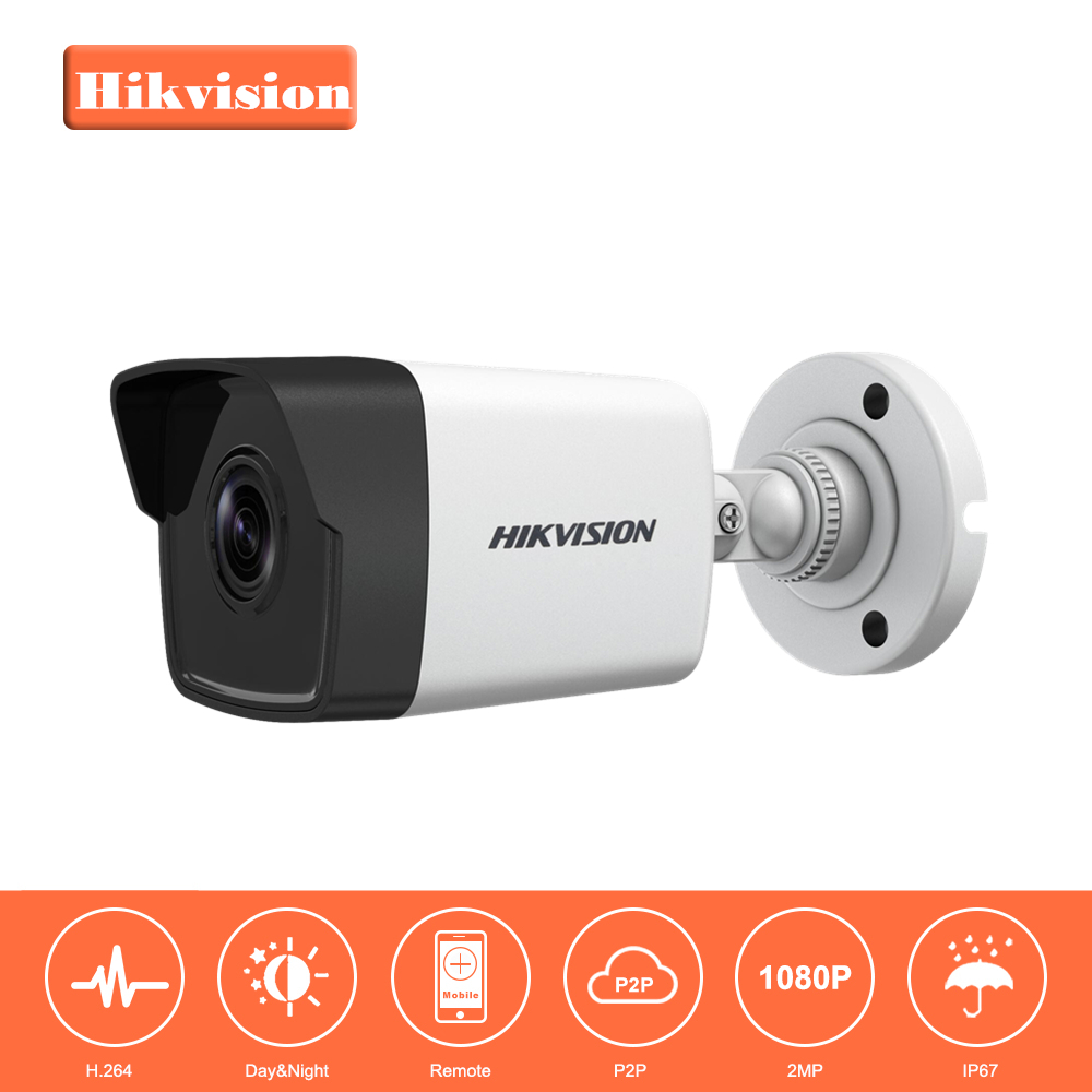 Original Hikvision 1080P Waterproof Bullet IP Camera DS-2CD1021-I Camera 2 Megapixel CMOS CCTV IP Security Camera PoE Outdoor bullet camera tube camera headset holder with varied size in diameter