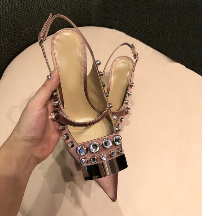 Pink Satin Crystal Metal Pointed Toe Slingback Shoes Med Heels Cut-out Ladies Pumps Fashion 2019 Women Dress
