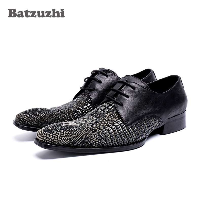 BATZUZHI Handmade Men Dress Shoes Genuine Leather Black italian Fashion Business Oxford Shoes 2018 Lace-up Zapatos Hombre, US12 pjcmg new fashion black red brown handmade genuine leather lace up pointed toe business dress men oxford office shoes