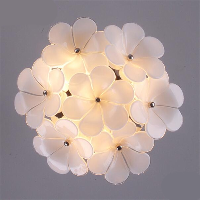 Modern Romantic Elegant White Glass Crystal Flowers Led G4*3 Ceiling Light for Aisle Entrance Living Room Dia 28cm 1291 victoria charles 1000 masterpieces of decorative art