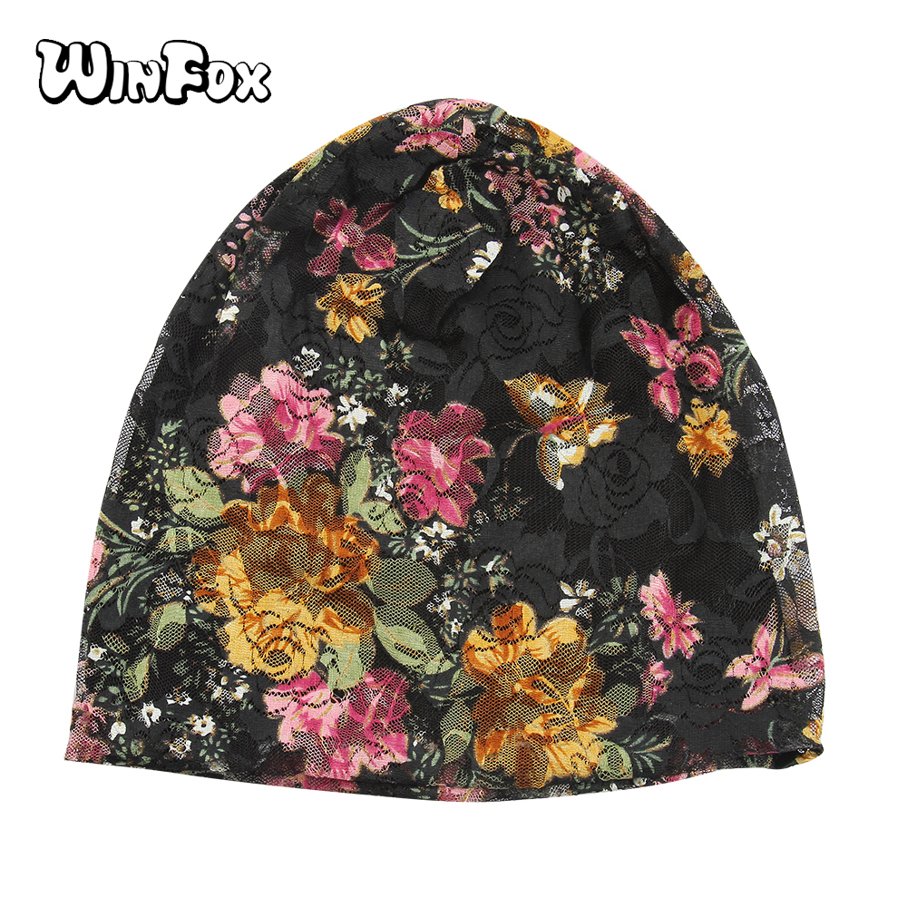 Winfox New Fashion Lace Floral Flower Butterfly   Skullie     Beanies   Hat Female Bonnet Gorras Mujer Turban Chemo Cap