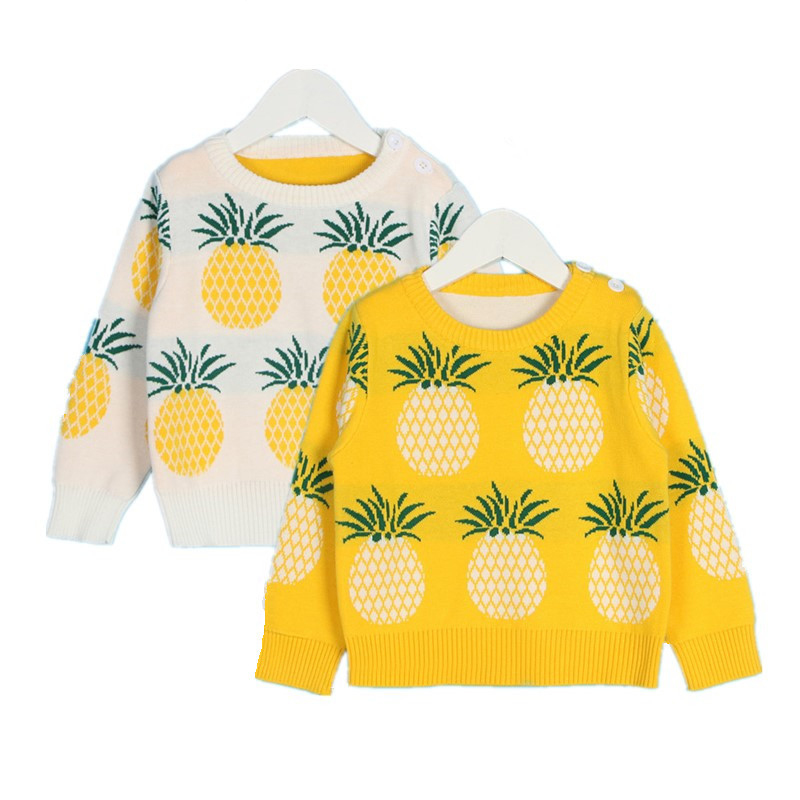 Childrens Pullover Sweater Cartoon Pineapple Knitted Sweaters Kids Bady Cotton Sweater Tops