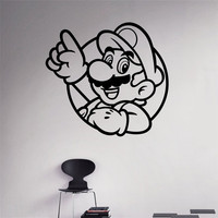 Super Mario Wall Decal Video Game Hero Vinyl Sticker Retro Games Home Interior Removable Wall Murals