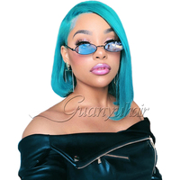 Guanyuhair Malaysian Remy Human Hair Blue Lace Front Wigs Pre Plucked Bleached Knots Short Blue Bob Wigs For Black Women