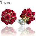 TUKER Ladies Double Side Rose Flower Stud Earring Fashion Brand Cocktail Party Jewelry Gold Filled Crystal Earrings For Women