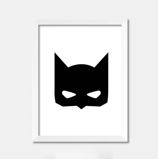Cartoon Batman inspiration black frame print canvas poster for child ...
