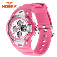 HOSKA Kids Watches Fashion Multifunction Water Resistant Sport Watches Girls Boys Rubber Strap Digital LED Wristwatches