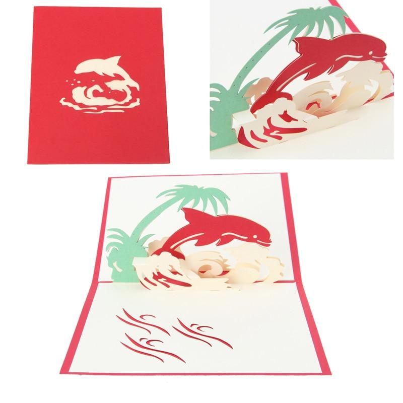 3d dolphin greeting card pop up paper cut postcard