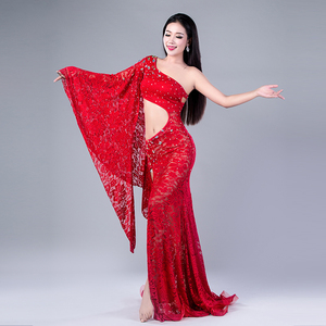Image 3 - Modal Performance Belly Dance Lace Elegant Inclined shoulder Girl Dress Belly Dance Dresses Belly Dance Costumes Comfortable