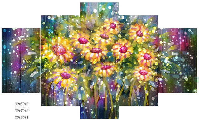 HD Painted colorful Sun Flower oil paintings 5 piece canvas art ...