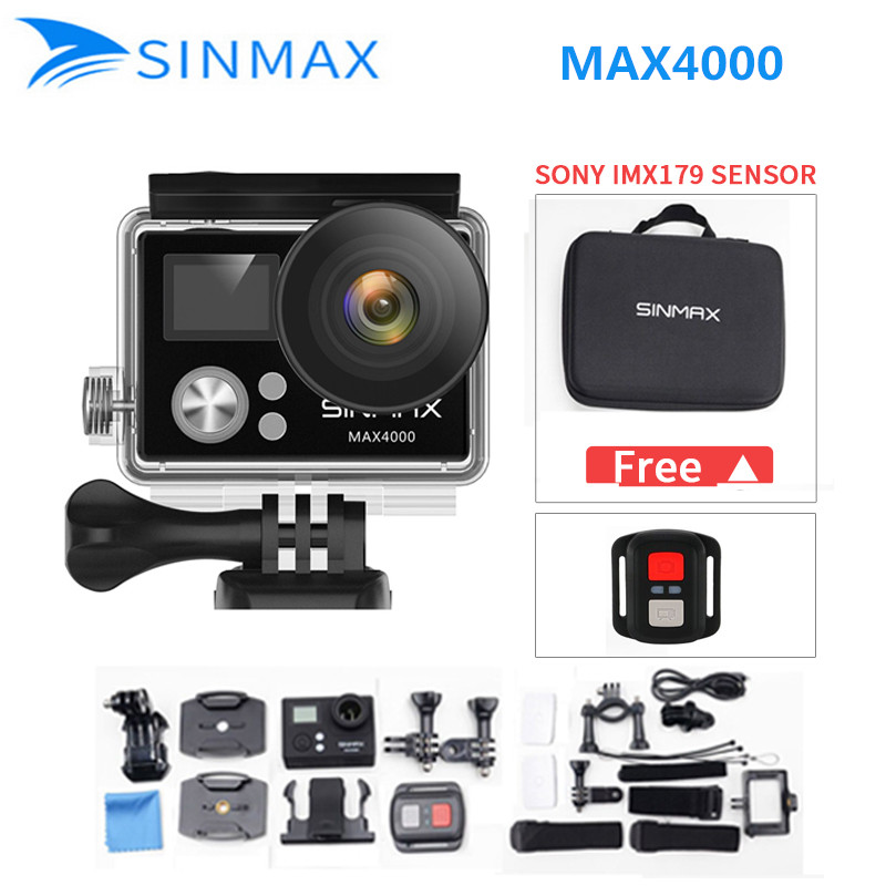 Ultra HD SINMAX WiFi 4K camera 2.0 LCD action helmet cam 1080P/60fps sports video kamera go waterproof mini camcorder+camera bag 360 camera 4k ultra hd panoramic action camera 1080p 3d fisheye lens vr camera wifi mini sports video camera deportiva kamera