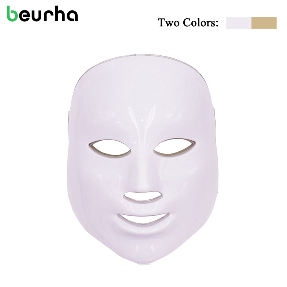 Beurha Rechargeable LED Facial Mask 7 Colors Photon Facial Mask Wrinkle Acne Removal Rejuvenation Massage Beauty Spa Device Home beurha 7 colors pdt photon led facial mask wrinkle acne removal face skin rejuvenation facial care beauty salon light therapy