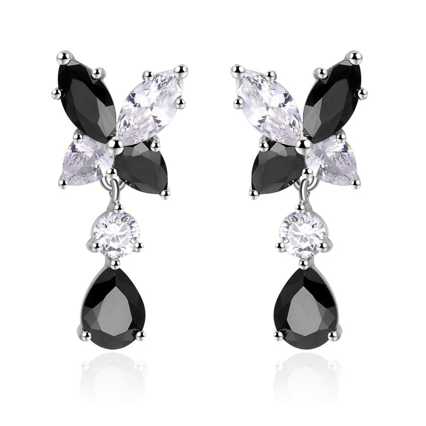 ZHE FAN Colorful Butterfly Water Drop Earrings Female AAA Cubic Zirconia Engagement Party Jewelry Gift Accessories Black Purple