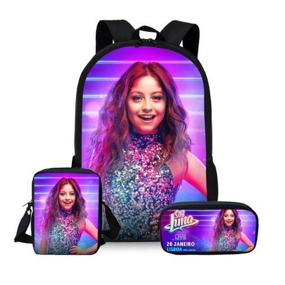 Customized Image 3Pcs/Set Soy Luna Printing School Bags Kids Boy School Backpacks Shoulder Bagpack Children Bookbag Satchel