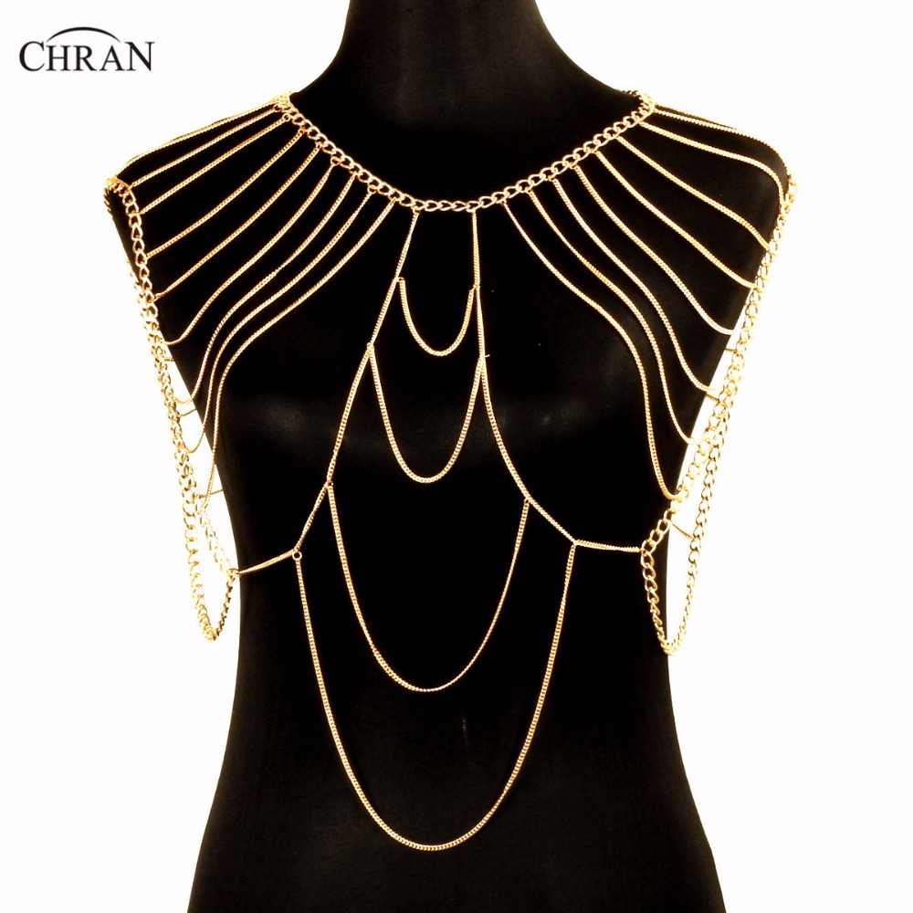 Chran Fashion Punk Sexy Shoulder Accessories Multi Tassel Necklace Gold Color Beach Chain Women Harness Party Jewelry CRBJ261