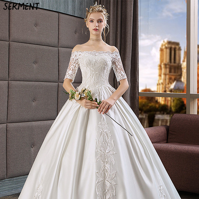 Foreign Trade Wedding Dress 2019 New Light Bride Hepburn Married Sen Satin Woman Bride Large Size Pettiskirt Women in Wedding Dresses from Weddings Events