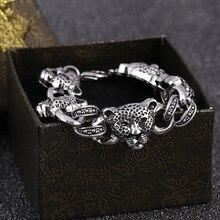 ZOSHI Lucky, винтажный мужской браслет из нержавеющей стали, серебряный Леопардовый Шарм, женский браслет Pulseira Masculina, лидер продаж, браслеты и браслеты