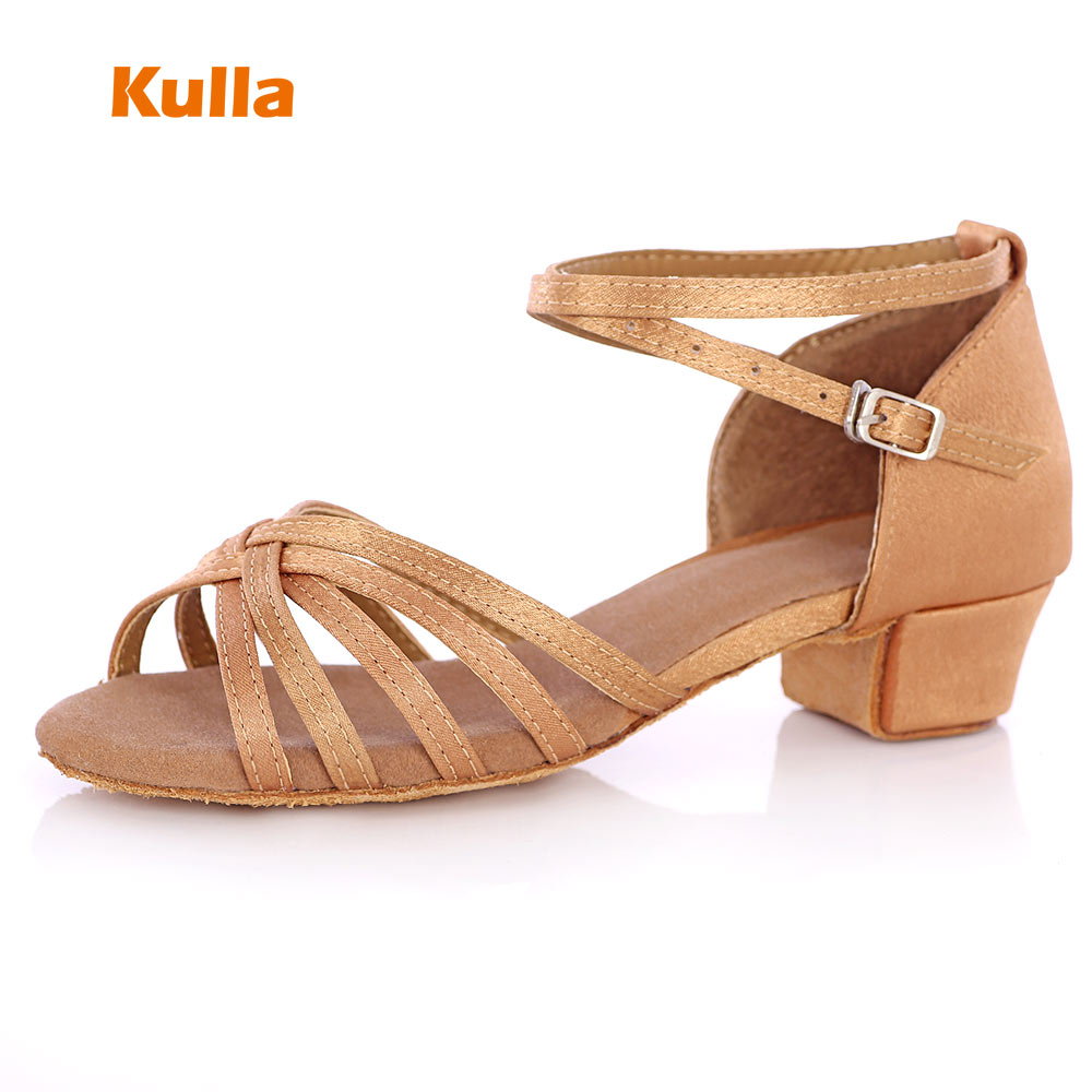 KULLA Children Latin Dance Shoes Ballroom Salsa Tango Low Heels Dancing For Kids Girls Shoe Zapatos De Baile Latino Mujer L36