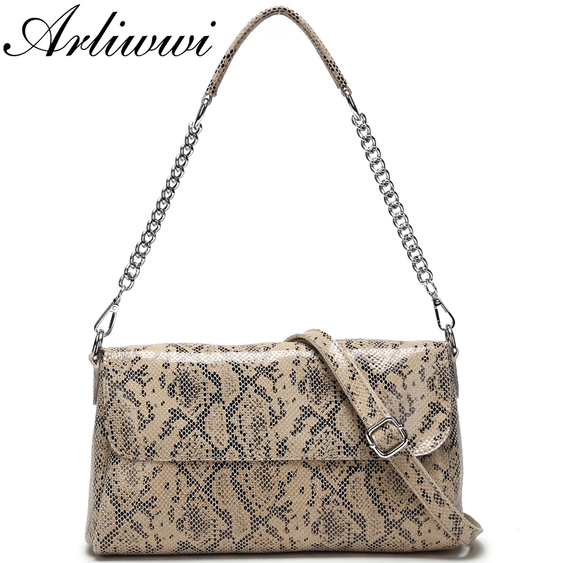 Arliwwi Shiny Snake Pattern 100 Real Leather Bags Handbags Women s New Silver Chain Flap Genuine