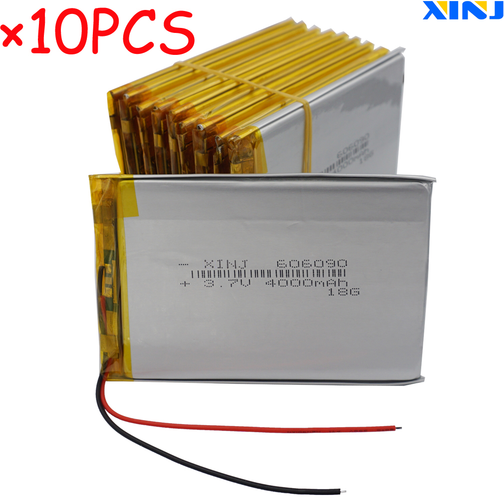 XINJ 10pcs <font><b>3.7V</b></font> <font><b>4000mAh</b></font> Lithium Polymer <font><b>LiPo</b></font> <font><b>Battery</b></font> 606090 For PSP PDA MID Power bank Tablet PC bateria portatil para celular image