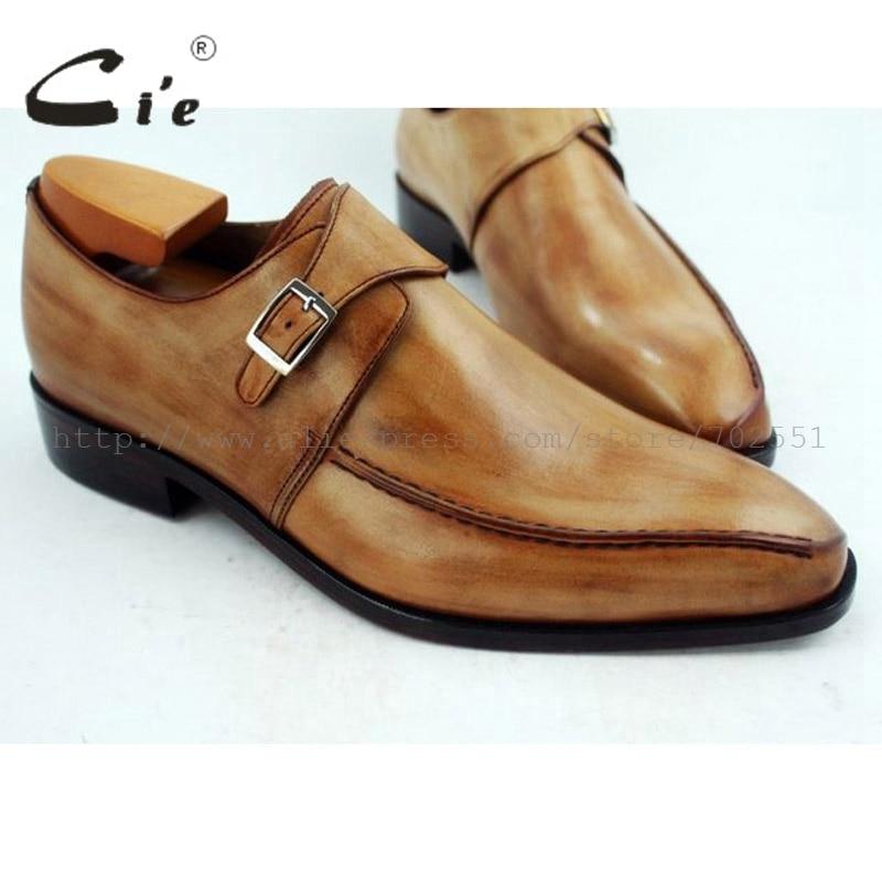 Cie مربع اصبع القدم واحدة الراهب الأشرطة رسمت باليد براون 100% جلد العجل تسولي تنفس اليدوية الرجال الشقق حذاء MS35-في أحذية رسمية من أحذية على  مجموعة 1