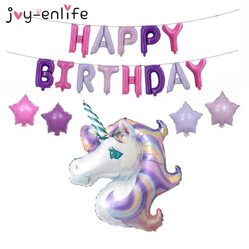 JOY-ENLIFE Cartoon Einhorn Ballon Geburtstagsparty Dekor Kinder - Partyartikel und Dekoration