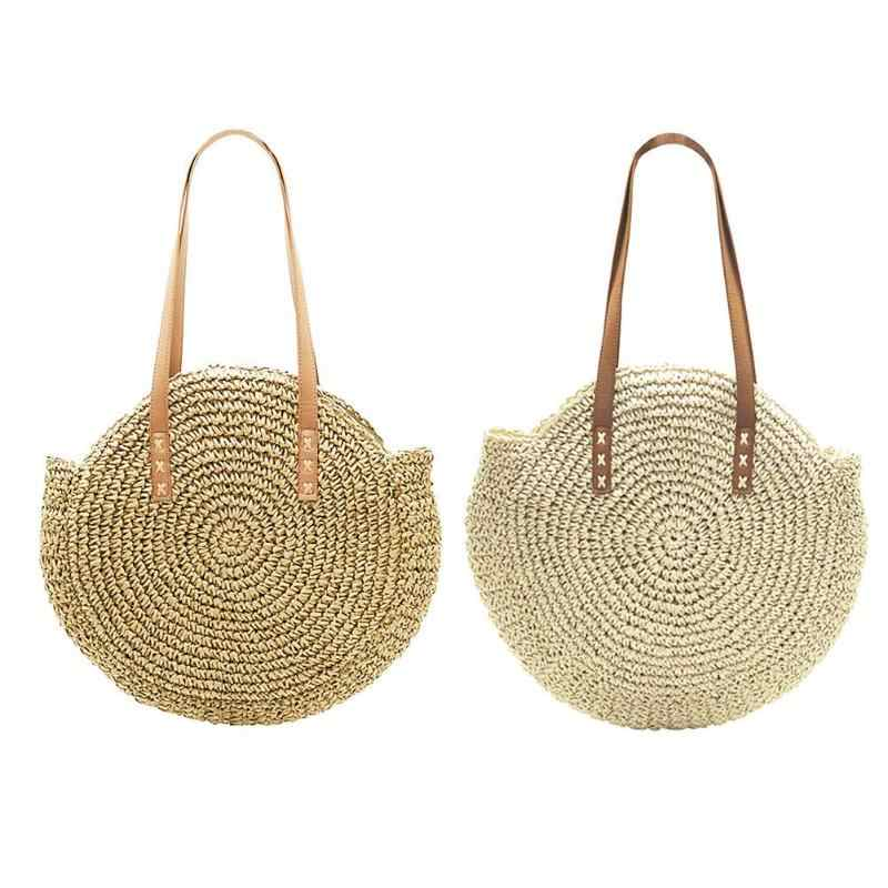 Portable Natural Ladies Tote Large Handbag Handwoven Big Straw Bag Round Popularity Straw Women Shoulder Bag Beach Holiday BagZ0