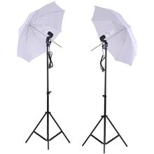 Photo Studio Lighting Kit Set White Soft Light Umbrella + 2Pcs 45W Light Bulb +2Pcs Swivel Light Socket