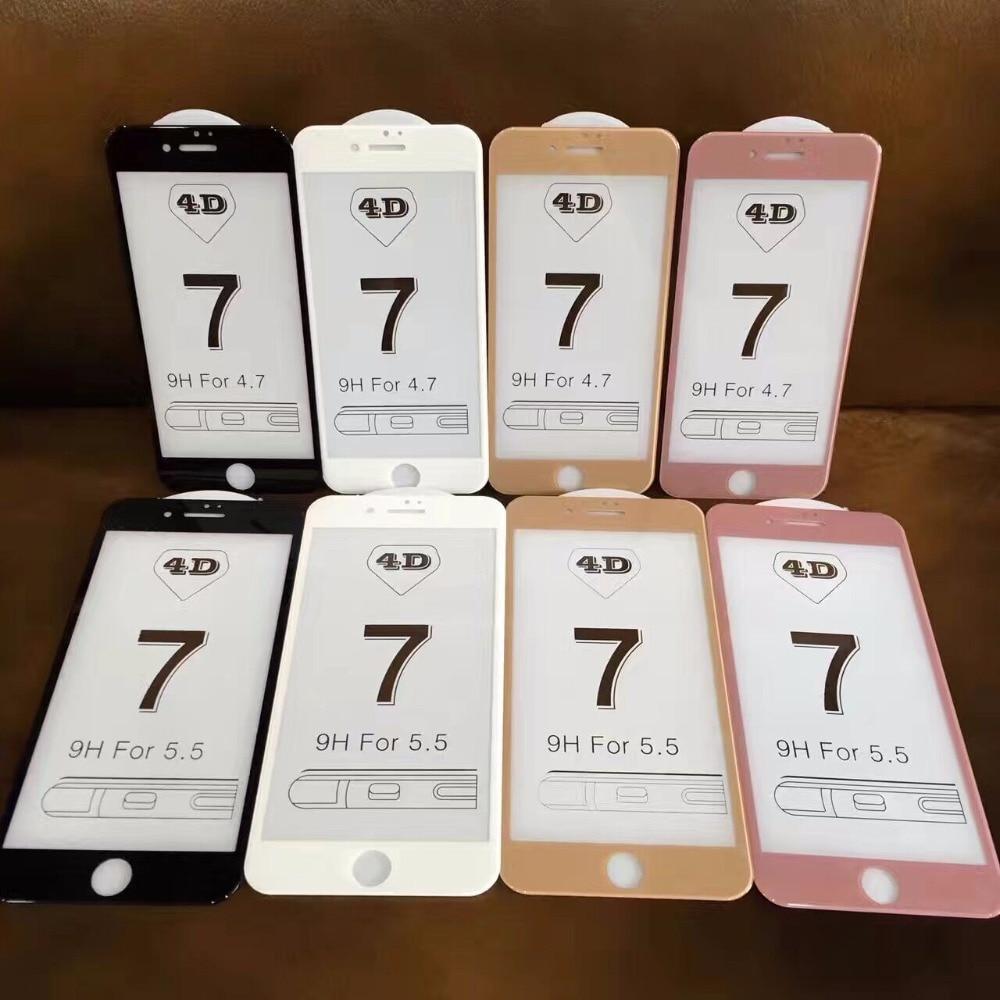 imágenes para 100 Unids 2017 Venta Caliente 4D 5D Cubierta FRÍA TALLA Completa Vidrio templado para el iphone 7 6 6 S Plus Premium Screen Vidrio protectora