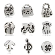 ef5425bc1 Vintage Retro Gypsy Tibet Silver Color Ice Cream Music Bicycle Bag Leaves  Charms Beads Fit Pandora