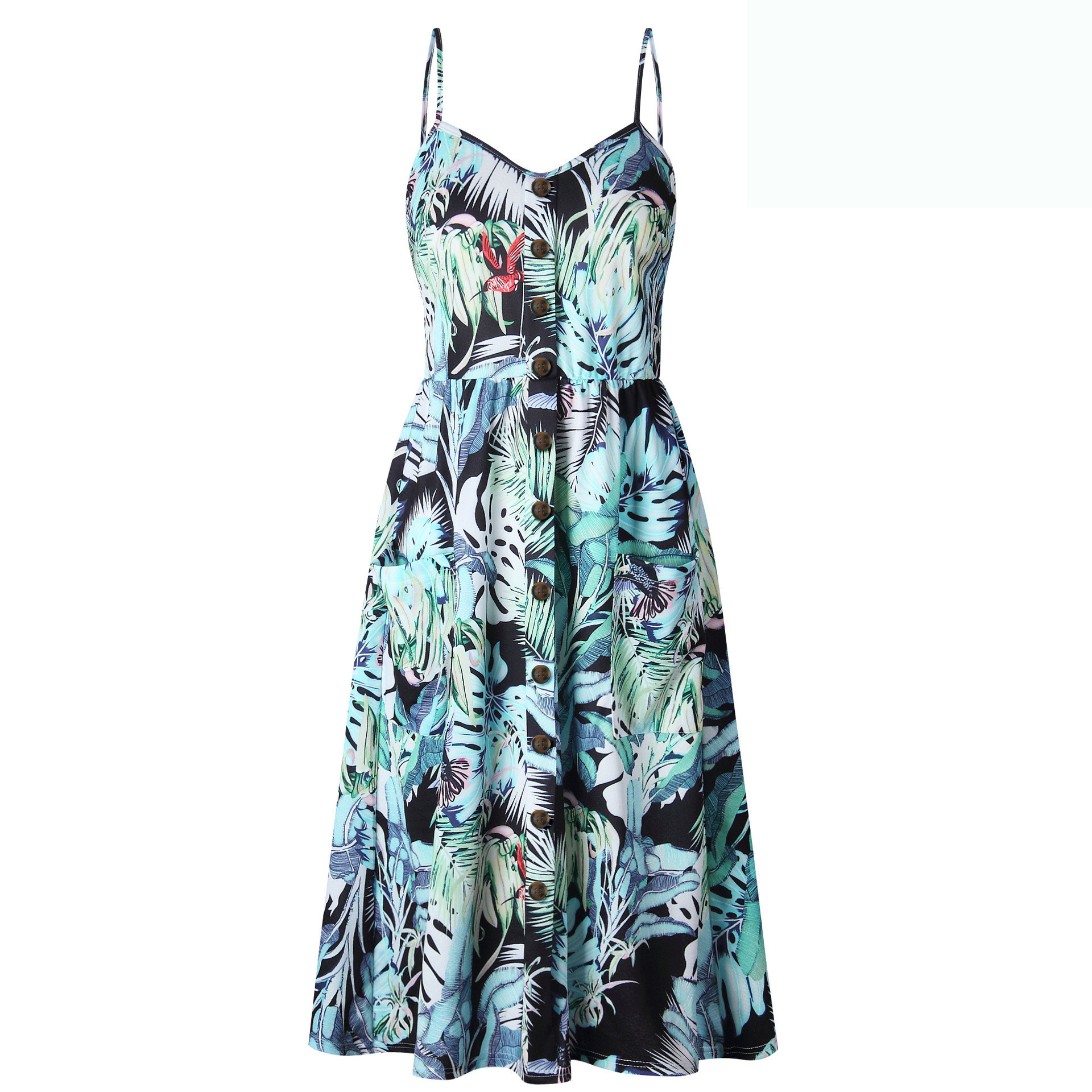 Sexy Off shoulder Party Beach Sundress Spaghetti Midi Dresses Plus Size 2019 Summer Women Strap Dress Button Print Striped Robe in Dresses from Women 39 s Clothing