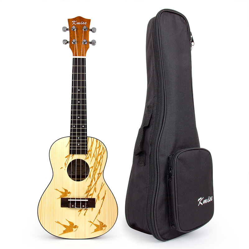 Kmise Concert Ukulele Solid Spruce Ukelele Uke 4 String Hawaii Guitar 23 inch with Gig Bag kmise soprano ukulele mahogany ukelele uke 21 inch with gig bag tuner strap string capo sand shaker cleaning cloth beginner kit