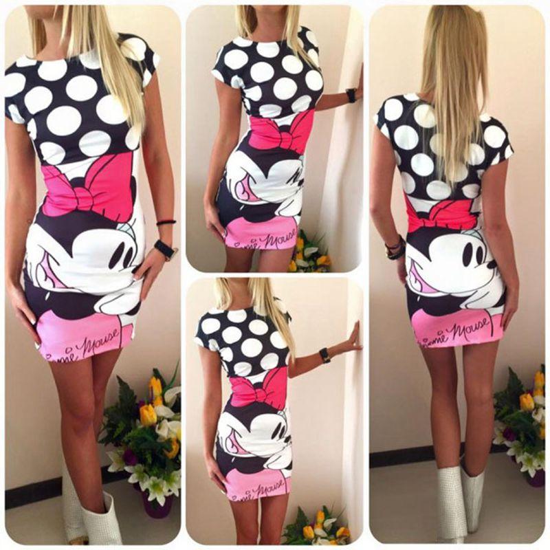 Plus Size 2017 Women Summer Dress Cute Character Printed Short Sleeve Round Neck Vestidos Sheath Bodycon Party Dress Women