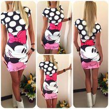 Plus Size 2017 Women Summer Dress Cute Character Printed Short Sleeve Round Neck Vestidos Sheath Bodycon