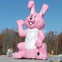 2018 new arrival pink festival inflatable Easter Bunny rabbit model cartoon animal decoration