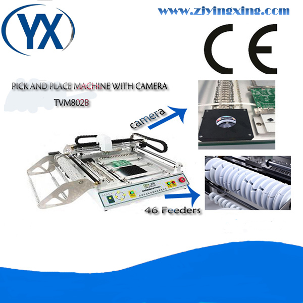 Double Visual Camera SMT Line Small Desktop Pick And Place Machine TVM802B With 46 Feeders