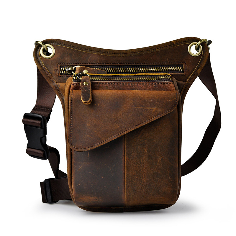 Oil Wax Leather Waist Bag 8 Inch Men Tide Cool Phone Camera Leg Bag Pack Purses Belt Bag Travel Pouch Bags