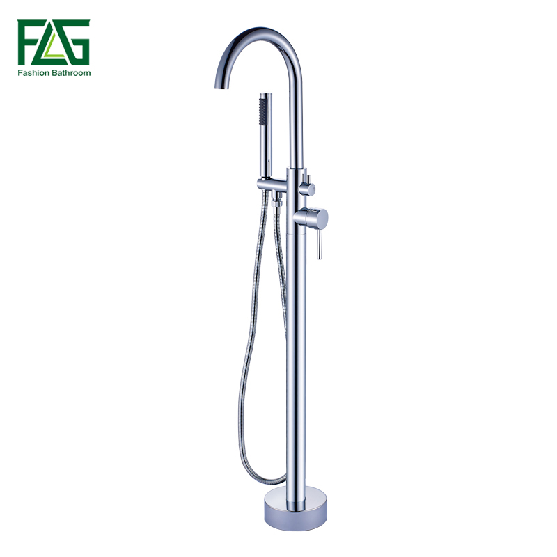 FLG Chrome Bathtub Faucet Bathroom Floor Mounted Tub Faucets With Hand Shower Head Solid Brass Mixer Tap 1013