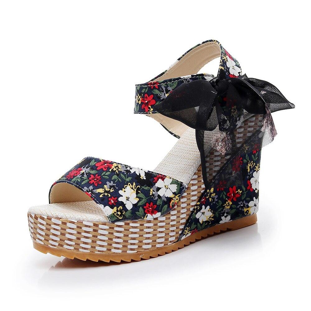4824e7088 Aliexpress.com   Buy Veowalk Summer Bohemian Women Floral Canvas Wedge  Sandals Hawaii Fashion Ladies High Heel Open toe Platform Shoes sandials  mujer from ...