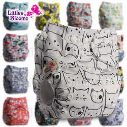Littles&Blooms Baby Washable Reusable Real Cloth Pocket Nappy Diaper Cover Wrap suits Birth to Potty One Size Nappy  Inserts