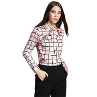 European Style Plaid Satin Blouse Vintage Long Sleeve Shirt Women Tops And Blouses 2016 Ladies Office