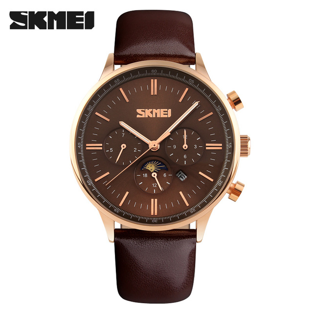 SKMEI Men's Quartz Watch Mens Sport Watches Relogio Masculino Fashion Casual Genuine Leather Waterproof Wristwatch Reloj Hombre
