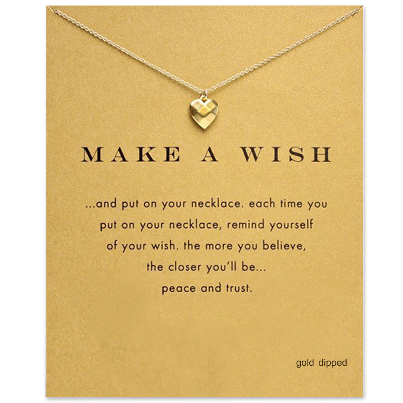 Trendy Tiny Heart Necklace For Women Minimalist Pendant Gold Color Chain Choker Necklaces Make a Wish Gift Card Valentine 39 s Day in Pendant Necklaces from Jewelry amp Accessories
