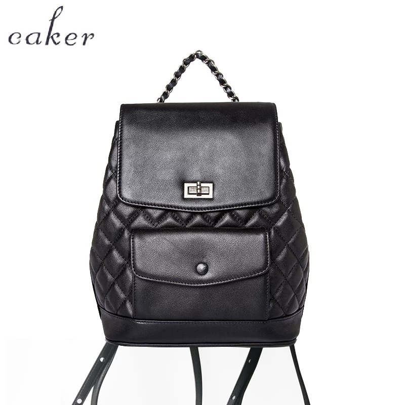 Caker 2017 Real Genuine Leather Women Diamond Lattice Backpacks Black Backpack Small Incense Wind Travel Bag Teenager School Bag