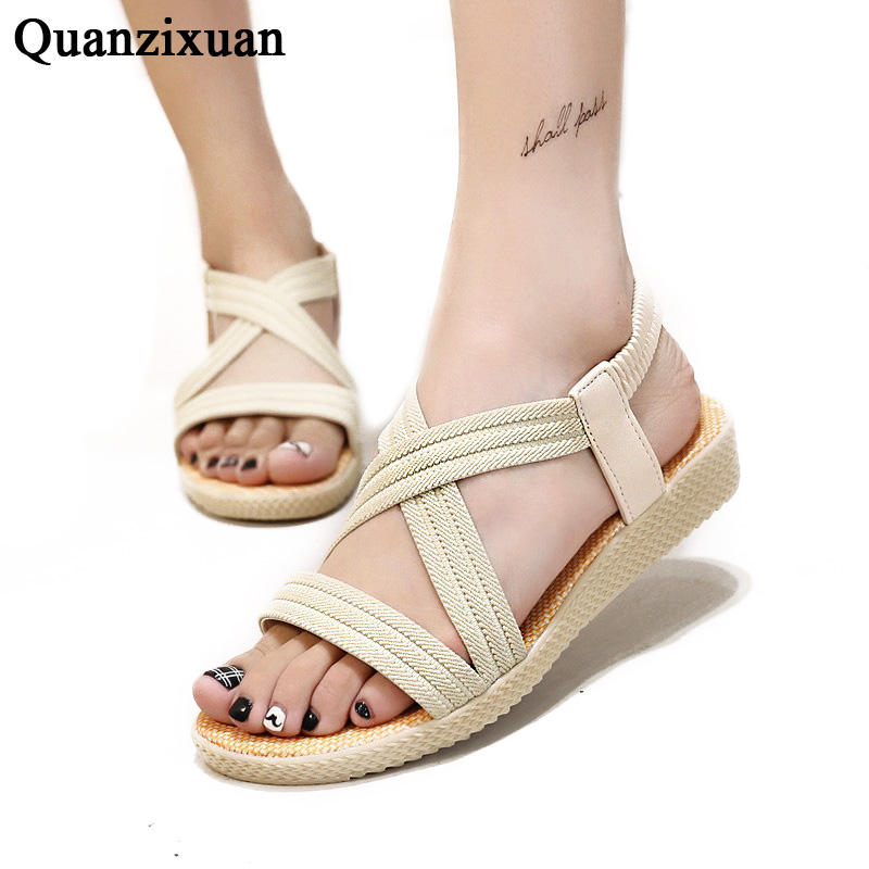 Quanzixuan Women Sandals Solid Flat Shoes Woman 2018 Fashion Gladiator Summer Flat Sandals Beach Shoes Rome Sandalias phyanic 2017 gladiator sandals gold silver shoes woman summer platform wedges glitters creepers casual women shoes phy3323