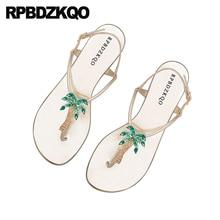 84a5e9375a3e51 Rhinestone Shoes Sandals Leisure Fashion Bohemia Style Thong T Strap  Embellished Flat Crystal Silver Diamond Jewel